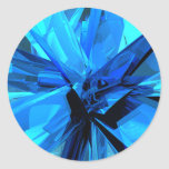 Blue Abstract Round Stickers