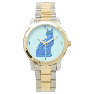 Blue Abstract Sitting Cat Art Pet Lover Timepiece Watch