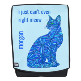 Blue Abstract Sitting Cat Cant Even Cat Lover Backpack