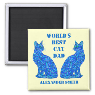 Blue Abstract Sitting Cat Crazy Cat Guy Cat Dad 2 Inch Square Magnet