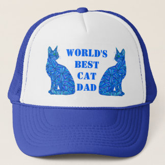 Blue Abstract Sitting Cat Crazy Cat Guy Cat Dad Trucker Hat