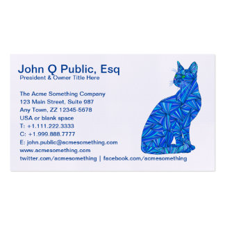 Blue Abstract Sitting Cat Feline Cat Lover Business Card