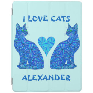 Blue Abstract Sitting Cat Feline Kitten Cat Lover iPad Smart Cover