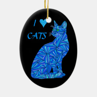 Blue Abstract Sitting Cat I Heart Cats Decoration