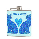 Blue Abstract Sitting Cat I Love Cats Cat Lover Flasks