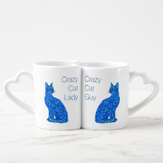 Blue Abstract Sitting Cat Kitten Crazy Cat Lover Coffee Mug Set