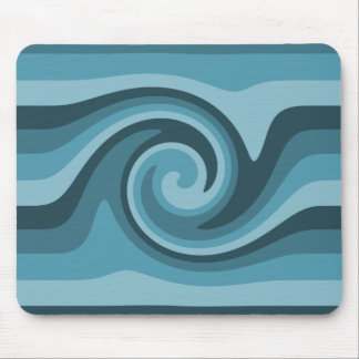 Blue abstract spiral swirl mouse pad