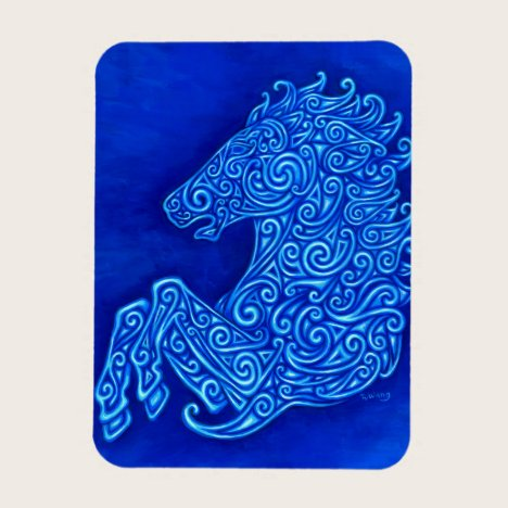 Blue Abstract Spirals Celtic Horse Flexible Magnet