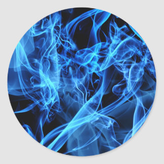 Blue Abstract Classic Round Sticker