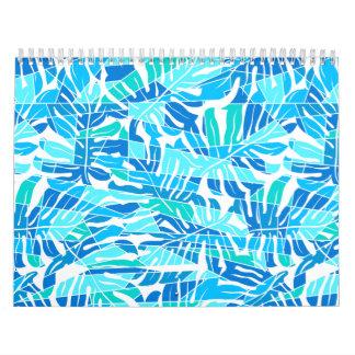 Blue abstract surf calendar