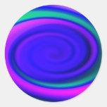 Blue Abstract Swirl Pattern Classic Round Sticker