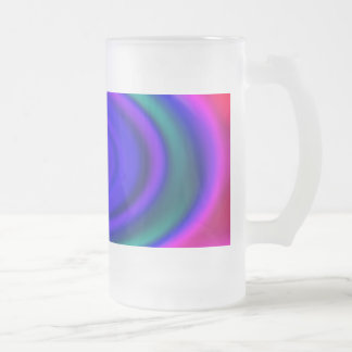 Blue Abstract Swirl Pattern Glass Frosted Glass Beer Mug