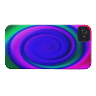 Blue Abstract Swirl Pattern iPhone 4 Case