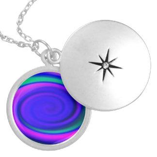 Blue Abstract Swirl Pattern Locket Necklace