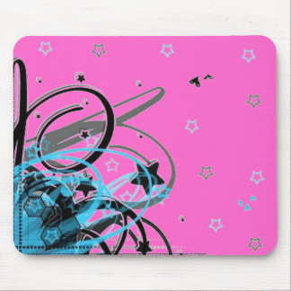 blue abstract swirls on a pink background mouse pad