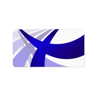 Blue Abstract Swooshes Label