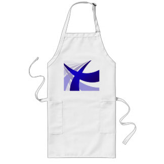 Blue Abstract Swooshes Long Apron