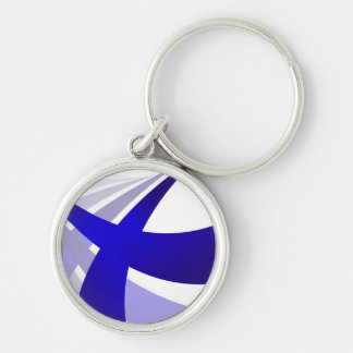 Blue Abstract Swooshes Silver-Colored Round Keychain