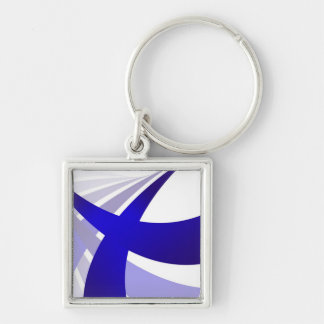 Blue Abstract Swooshes Silver-Colored Square Keychain