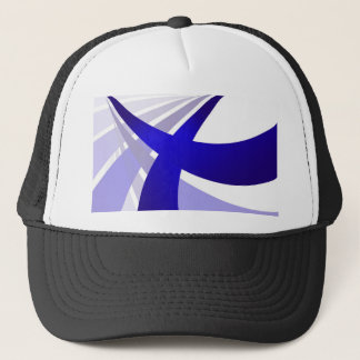 Blue Abstract Swooshes Trucker Hat