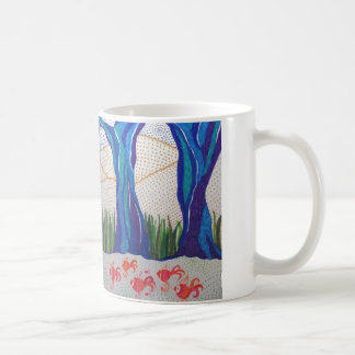 Blue abstract tree & fish design. mugs