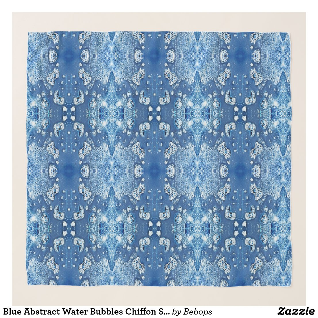Blue Abstract Water Bubbles Chiffon Scarf