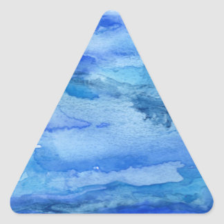 Blue Abstract Watercolor Triangle Sticker