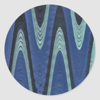 blue abstract wave classic round sticker