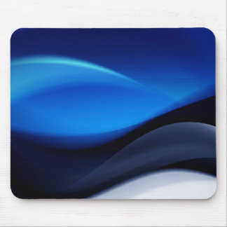 Blue Abstract Waves Mouse Pad