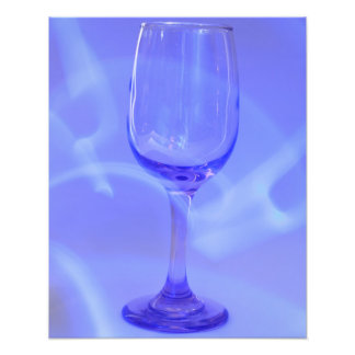 Blue Abstract Wine Glass Photo Print