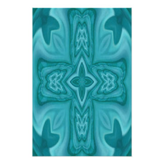 Blue abstract wood cross art photo