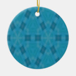 Blue abstract wood Pattern Christmas Ornaments