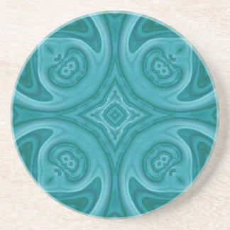 Blue abstract wood pattern drink coaster