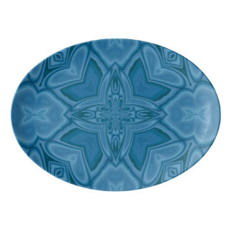 Blue abstract wood pattern porcelain serving platter