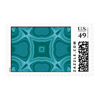 Blue abstract wood pattern postage stamps