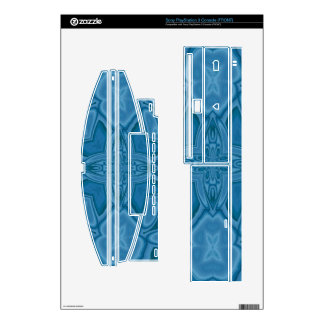 Blue abstract wood pattern PS3 console skins