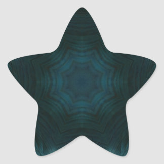Blue abstract wood star sticker