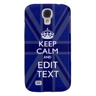 Blue Accent Keep Calm and Your Text Union Jack Samsung Galaxy S4 Case