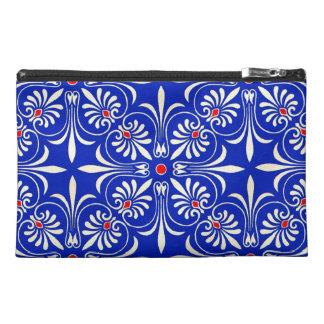 Blue Accessory Bag Greek Athenian Pattern White