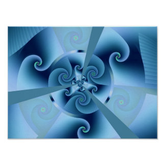 Blue Accordion Abstract Art Posters