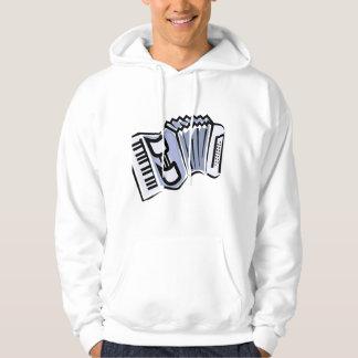 Blue accordion graphic image design, music hoodies