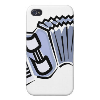 Blue accordion graphic image design, music iPhone 4/4S case