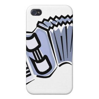 Blue accordion graphic image design, music iPhone 4 cover