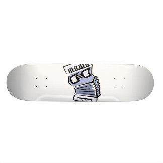 Blue accordion graphic image design, music skateboard