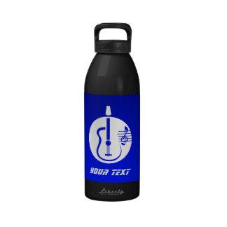 Blue Acoustic Guitar Water Bottles