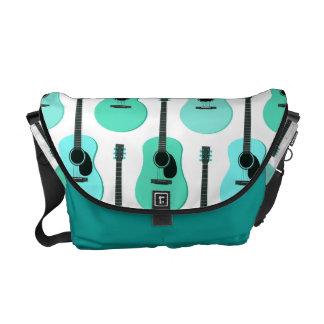 Blue Acoustic Guitars Pattern Messenger Bag