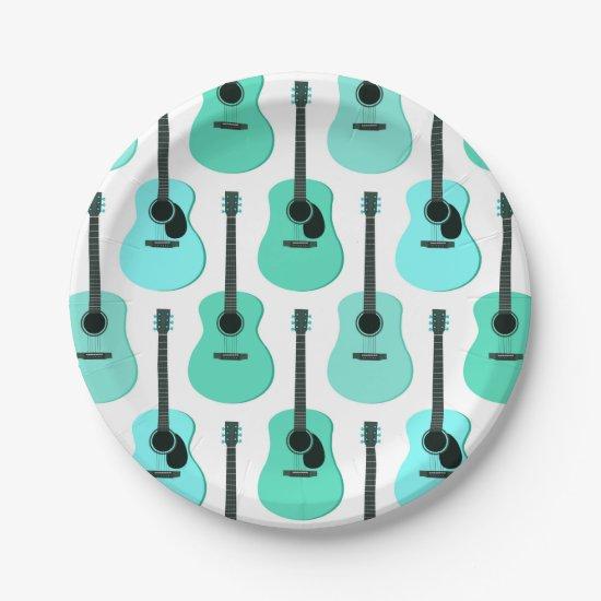 Blue Acoustic Guitars Pattern Paper Plate