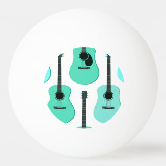 Blue Acoustic Guitars Pattern Ping-Pong Ball
