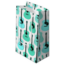 Blue Acoustic Guitars Pattern Small Gift Bag