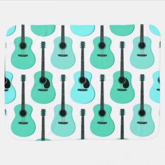 Blue Acoustic Guitars Pattern Swaddle Blanket